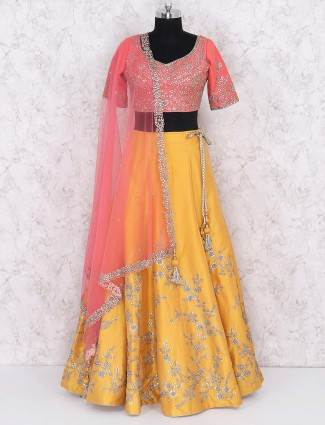 Silk fabric gold colored party lehenga choli