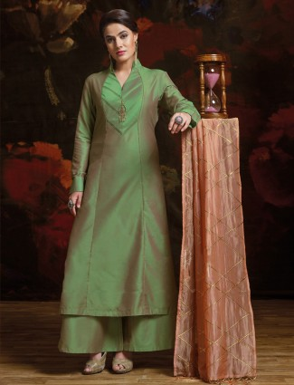 Silk fabric green palazzo suit