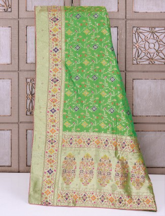 Silk fabric green saree for wedding