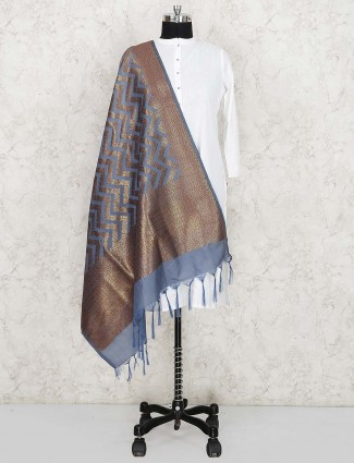 Silk fabric grey hue lovely dupatta