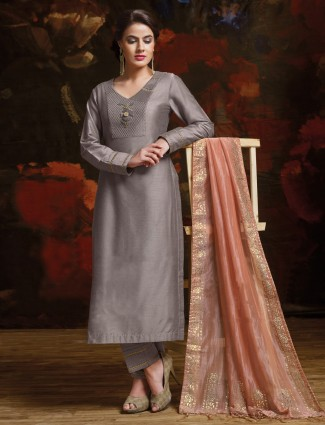 Silk fabric grey palazzo suit