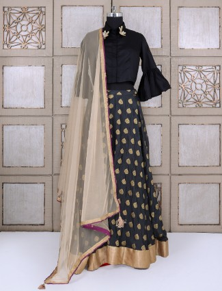 Silk fabric in navy lehenga choli