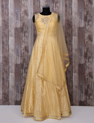 Silk fabric light yellow anarkali suit for festive function
