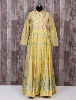 Silk fabric light yellow gown style dress