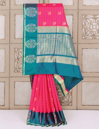 Silk fabric magenta colored saree