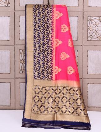 Silk fabric magenta simple saree
