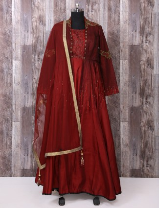 Silk fabric maroon anarkali suit