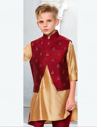 Silk fabric mustard yellow waistcoat set