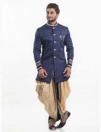 Silk fabric navy color indo western