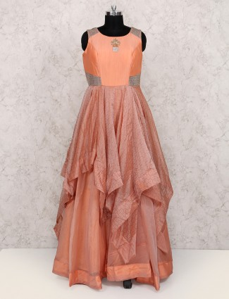 Silk fabric orange color gown