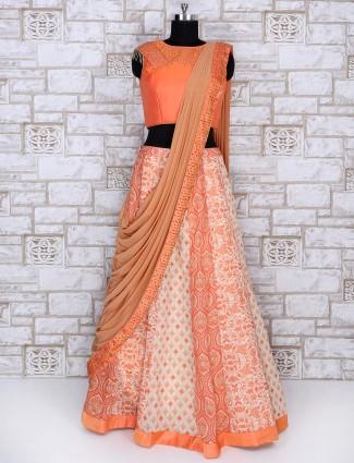Silk fabric orange lehenga choli