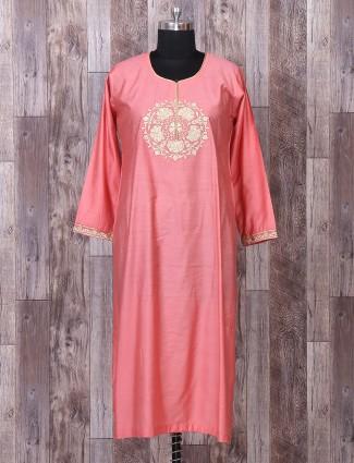 Silk fabric peach lehenga style suit