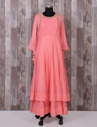 Silk fabric peach long anarkali suit for festive