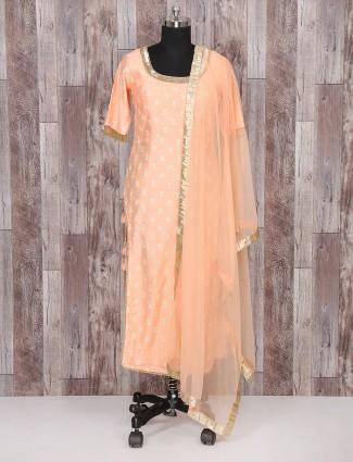 Silk fabric peach palazzo suit