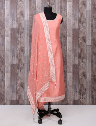 Silk fabric peach salwar suit