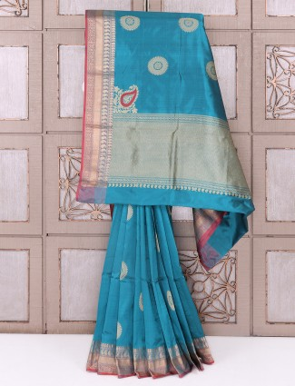 Silk fabric rama blue color saree