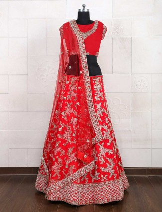 Silk fabric red bridal semi stitched lehenga choli