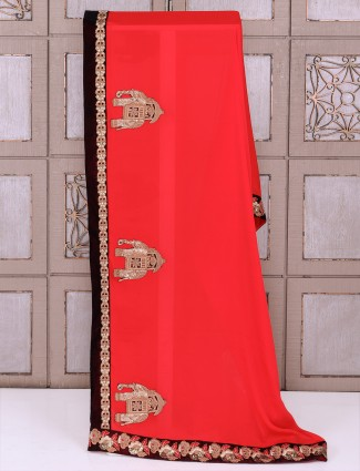 Silk fabric red color saree for wedding