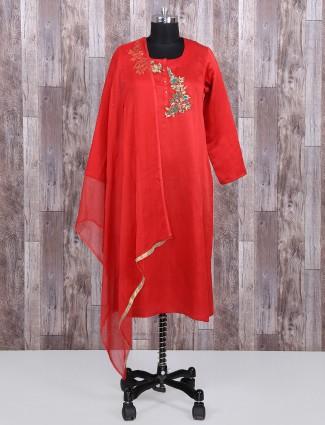 Silk fabric red salwar suit for festive wear