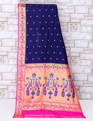 Silk fabric rich navy color festive wear saree