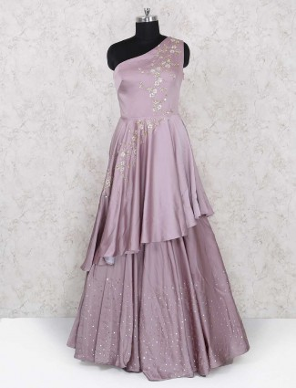 Silk fabric rose pink gown