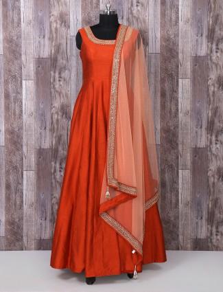 Silk fabric rust orange color anarkali suit