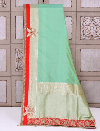 Silk fabric sea green color saree