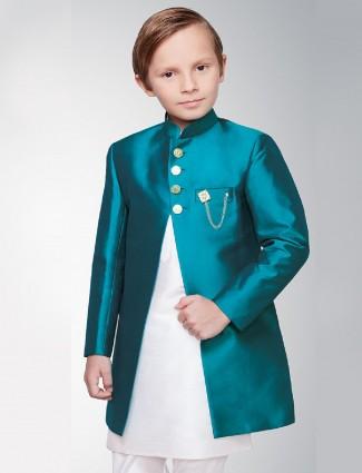 Silk fabric solid rama green indo western