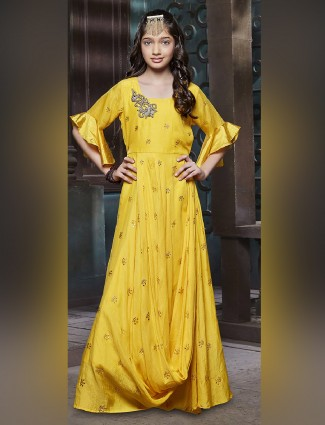 Silk fabric yellow color gown