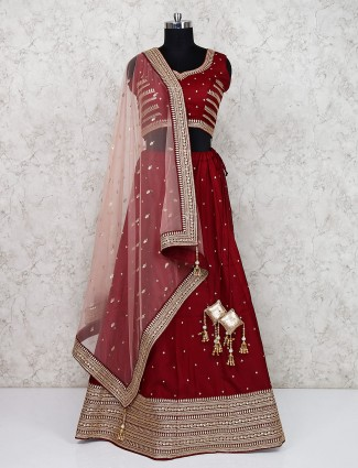 Silk fabric maroon hue wedding semi stitched lehenga choli