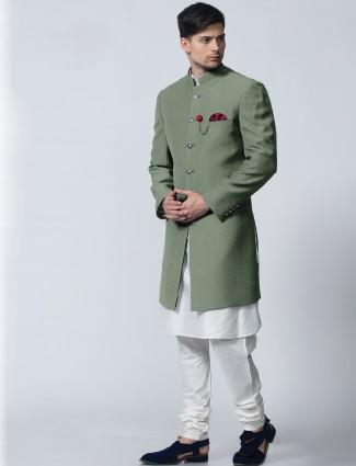 Silk festive wear green indo western