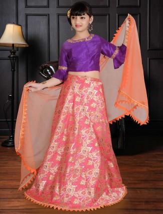 Silk girls pink designer lehenga choli