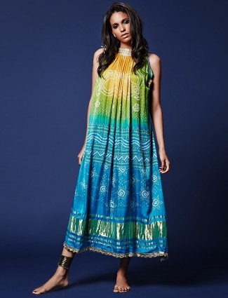 Silk green and blue silk kurti