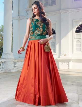 Silk green and orange anarkali suit