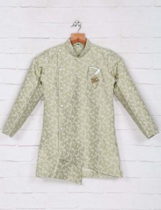 Silk green color indo western