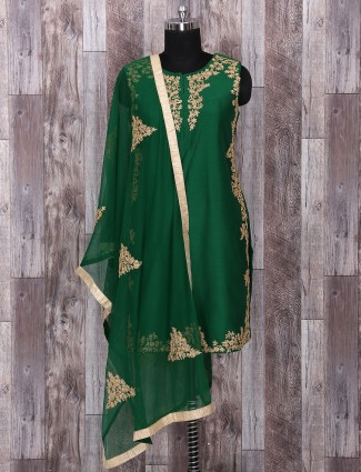 Silk green color palazzo suit