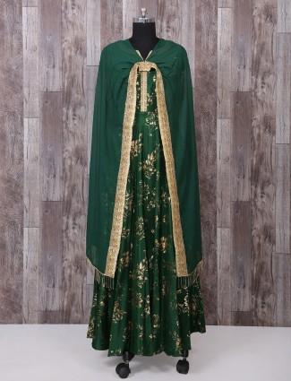 Silk green color salwar suit