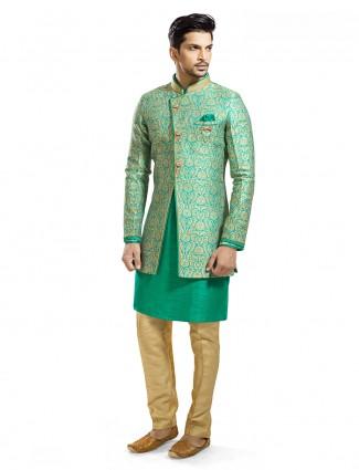 Silk green two piece indo western