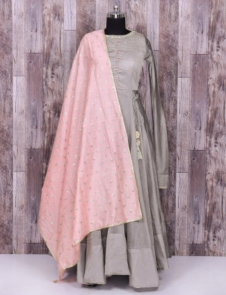 Silk grey and pink color anarkali suit