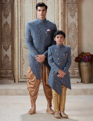 Silk grey zari weaving father son indo western
