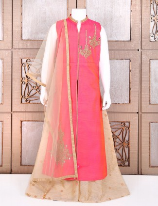 Silk indo western in pink color