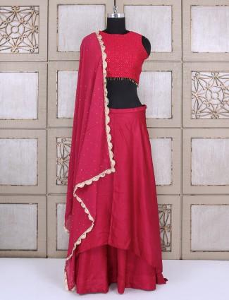Silk lehenga choli in wine color