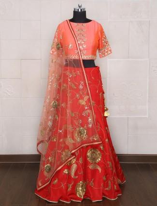 Silk maroon peach designer lehenga choli