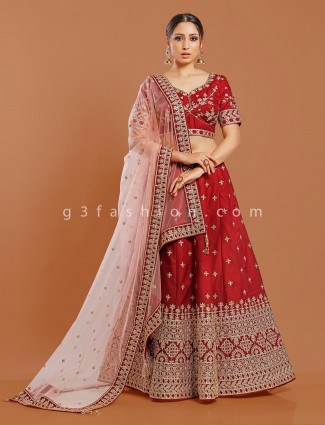 Silk maroon wedding or party lehenga choli