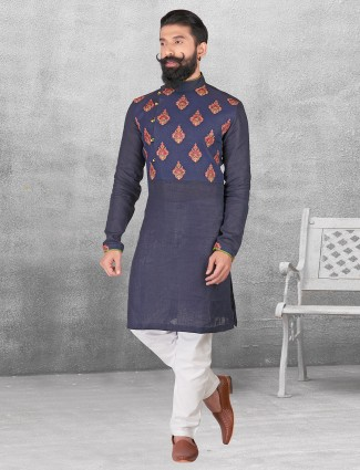 Silk navy festive kurta suit for festive function