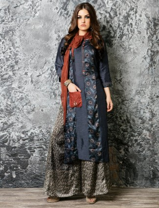 Silk navy festive wear palazzo suit