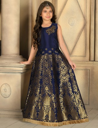 Silk navy stylish party wear gown