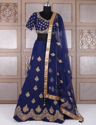 Silk navy wedding wear designer lehnega choli