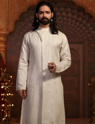 Silk off white kurta suit