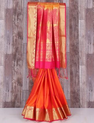 Silk orange and pink wedding saree